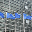 Stock Photo: Europeflags in front of Berlaymont building, headquarters
