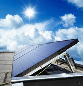 Solar panel against blue sky — Stock Photo