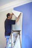 Man putting up wallpaper — Stock Photo