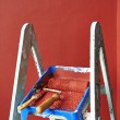Ladder, paint can and paint roller — Stock Photo #25332679