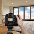 Stock Photo: Mphotographing empty living room with digital camera