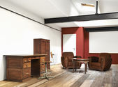 Interior wide loft, office and wooden floor — 图库照片
