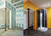 Construction of Drywall-Plasterboard bathroom — Stock Photo