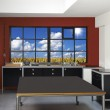 Loft kitchen and windows frames with wheat field in background — Stock Photo