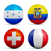 Soccer balls with group E teams flags, Football Brazil 2014.  — Stock Photo