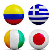Soccer balls with group C teams flags, Football Brazil 2014.  — Stock Photo