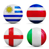 Soccer balls with group D teams flags, Football Brazil 2014.  — Stockfoto