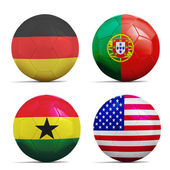 Soccer balls with group G teams flags, Football Brazil 2014.  — Stock Photo