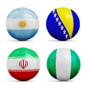 Soccer balls with group F teams flags, Football Brazil 2014.  — Stock Photo