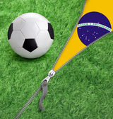 Zipper with Grass and football ball on Brazil flag. — Stock Photo