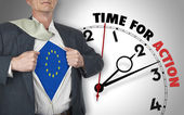 Businessman showing shirt with flag from Europe suit against clo — Stock Photo