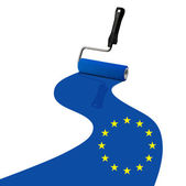 Paint roller painting Europe flag — Foto Stock