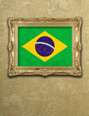 Flag from Brazil exposition in gold frame  — Stock Photo