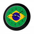 Black clock with flag of Brazil on wall — Stock Photo #46741441