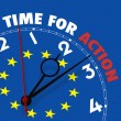 European flag clock with words Time for Action on its face — Stock Photo