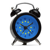 Old style alarm clock with the flag of Europe — Stock Photo