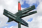 Imagine and created Signpost — Stock Photo