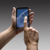 Avrupa bayrak ekran akıllı telefon tutarak — Stok fotoğraf