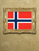 Flag from Norway exposition in gold frame  — Stock Photo
