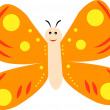 Cartoon butterfly isolated on white - vector — Stock Vector