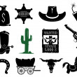Western icons set - Stock Vector