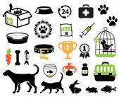 Sällskapsdjur ikoner — Stockvektor