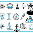 Nautical frame and icons — Stock Vector