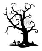 Spooky silhouette of tree — Stock Vector
