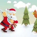 Christmas card with Santa Claus Hunter — Stock Vector