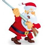 Santa with rifle — Stock Vector