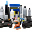 Colour toners and cartridges for printers. — Stock Photo