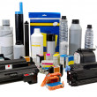Stock Photo: Colour toners and cartridges for printers.
