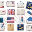 Envelopes and stamps - Stockvectorbeeld