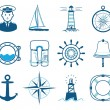 Sea Sailing icons set — Stock Vector