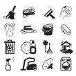 Monochromatic cleaning vector icons — Stock Vector
