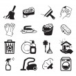 Monochromatic cleaning vector icons - Stock Vector