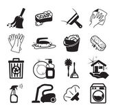 Monochromatic cleaning vector icons — Stok Vektör