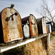 Stock Photo: old mailboxes in midwest usa