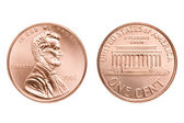 Penny macro isolated — Stock Photo