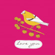 Flower card with love bird — ストックベクタ