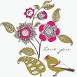 Stock vektor: Flower card with love bird