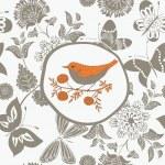 ładny karty z ptakiem — Wektor stockowy