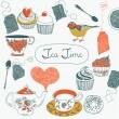 Tea time card — Stock Vector