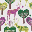 Forest with deers — Stockvektor