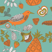 Fruit garden with bird — Stock Vector