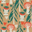 Cute owls in the forest. seamless pattern - Imagen vectorial