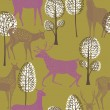 Summer forest with deers - Imagen vectorial