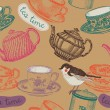 Tea time. seamless background - Imagen vectorial