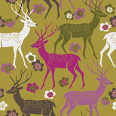 Colorful deers. seamless pattern — Stock Vector