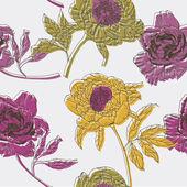 Peony bloemen. naadloze patroon — Stockvector
